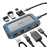 uni USB C Hub, USB-C 8 in 1 Hub mit abnehmbarem Stecker und Silikonhülle, Unterstützung...