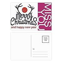 クリスマスのヘラジカの新年の冬のフェスティバル ポストカードセットサンクスカード郵送側20個ミス