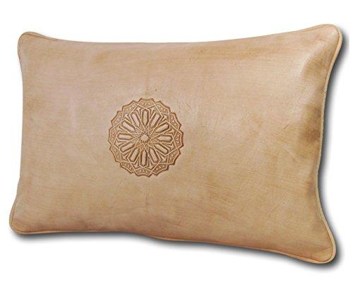 minadesign-de almadih Cuscino in Pelle XL 50x 35cm Viola–Fatto a Mano Agnello in Nappa Oriental Cuscino del Divano Cuscino di Seduta Cuscino Decorativo