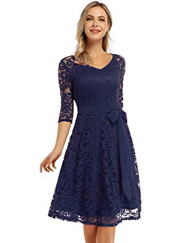 KOJOOIN Damen Vintage Kleid Brautjungfernkleid Knielang Langarm Spitzenkleid Cocktailkleid Dunkelblau Navyblau L
