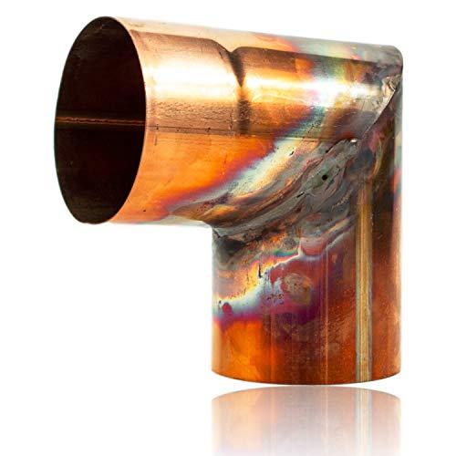Kupfer Winkelbogen 60 mm mit 87 Grad, Rohrwinkel mit Einsteckfase für einfache Montage, Rohrwinkelbogen für Kupfer Regenrohre in DN 60