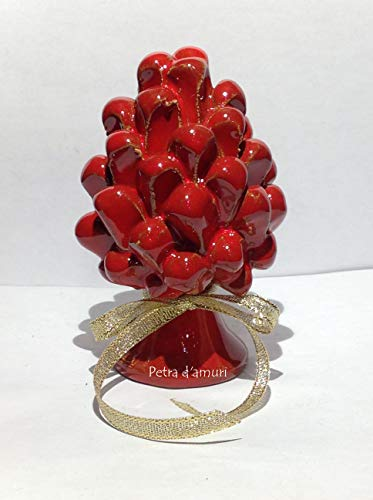 Petra d'amuri Pigna Piccola Rosso h 11 cm in Ceramica siciliana Hand Made