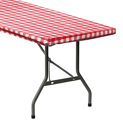 Sorfey Indoor/Outdoor Vinyl Elastic Edge Fitted Tablecloth Cover. Checkered Design, Flannel Backed Leak Proof Lining, Easy to Clean. Stretched to Fit 48 x 24 Inch Rectangle Table, Red