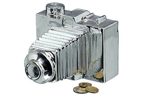 Spardose Kamera 13 cm x 10 cm x 14 cm Foto Bildkamera Sparschwein Silber