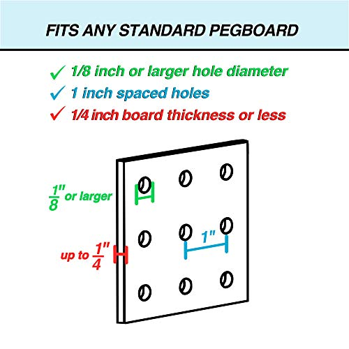 Pegboard Bins - 12 Pack Blue - Hooks to Any Peg Board - Organize Hardware, Accessories, Attachments, Workbench, Garage Storage, Craft Room, Tool Shed, Hobby Supplies, Small Parts
