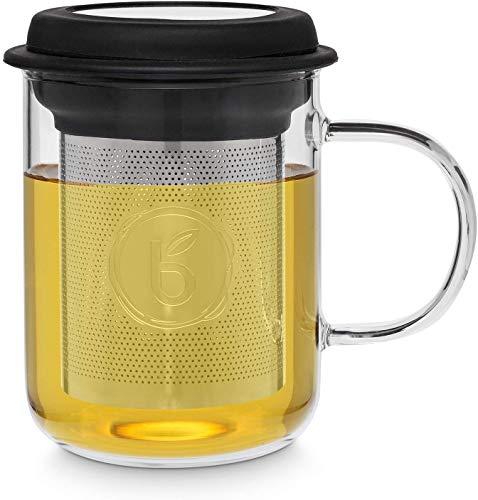 """Buntfink """"TeaMug"""" Teeglas mit Edelstahl-Sieb und Deckel, die Teetasse besteht aus hitzebeständigen Borosilikat-Glas, der Filter kann aus der Tasse entfernt Werden (Tee) 400ml – (Schwarz)"""
