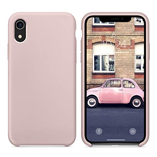 SURPHY Silicone Case for iPhone XR Case, Soft Liquid Silicone Shockproof Phone Case (with Microfiber Lining) Compatible with iPhone XR (2018) 6.1 inches (Pink)