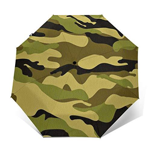Compact Travel Umbrella - Windproof, Reinforced Canopy, Ergonomic Handle, Auto Open/Close Multiple Colors, Army Camouflage 3D Camo Print