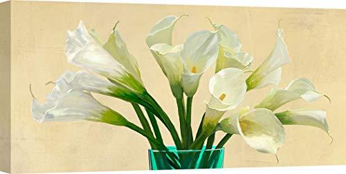 ART PRINT CAFE' – canvasfoto's - moderne bloemen - Andrea Antinori - witte Calla lelies in een kristallen vaas (detail) 100x50