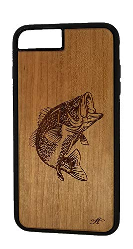 iPhone 6, 6s, 7, and 8 Compatible Cherry Wood Cell Phone Case Laser Engraved with Image of a Large Mouth Bass