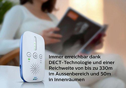 Philips Avent SCD501/00 Audio-Babyphone mit DECT-Technologie, Nachtlicht, Geräuschpegelanzeige,  weiß/blau - 2