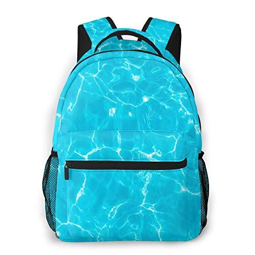 CVSANALA Multifuncional Casual Mochila,Verano de agua azul de la piscina en el patrón de sol de mar fresco completo,Paquete de Hombro Doble Bolsa de Deporte de Viaje Computadoras Portátiles