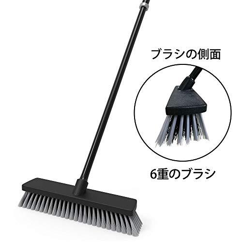 URARA LIFE 清掃用品 デッキブラシ 浴室掃除用ブラシ タイルブラシ 伸縮タイプ(77-126cm) ベランダ・玄関のための床ブラシ 庭園にも適用 Daily Clean