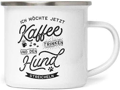 PfotenSchild Emaille Tasse mit Spruch - Ich möchte jetzt Kaffee - EIN Hund - Metalltasse für Hundefreunde - Kaffeebecher mit Hundespruch - persönliche Geschenkidee