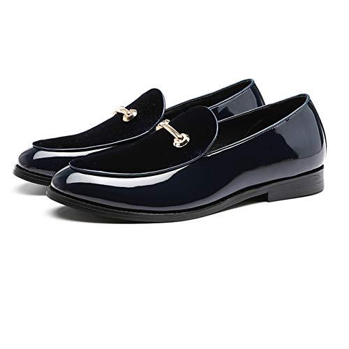 NXY Uomo Linea in Pelle Scamosciata e Vernice Scivolare su Mocassini Scarpe da Sposa Smart Casual Driving Shoes Blu 42
