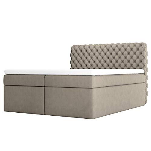 Selsey Costmary - Boxspringbett, Doppelbett mit Samtbezug, Bettkasten und Topper (180 x 200 cm, Taupe)
