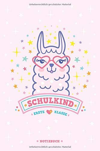 Schulkind Erste Klasse   Lama Notizbuch für Mädchen   Geschenk zur Einschulung   6×9 Zoll ca. A5 liniert: Liniertes Notizheft mit Kawaii Alpaka Comic in Rosa und Pink als Einschulungsgeschenk