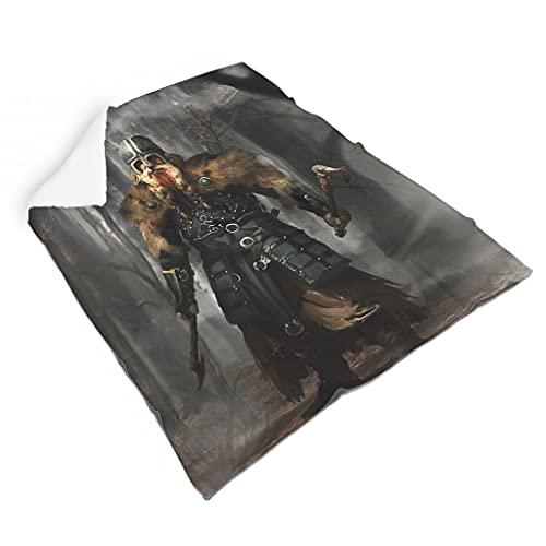 Hothotvery Manta de peluche vikingo, guerrero, ejes, niebla, bosque impresa, tamaño grande, hippie, para el hogar, color blanco, 140 x 180 cm