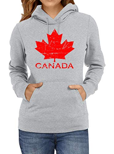 Shirt Happenz Kanada Vintage Ahornblatt Canada CAN Maple Leaf Premium Hoodie Frauen Kapuzenpullover, Größe:L, Farbe:Graumeliert