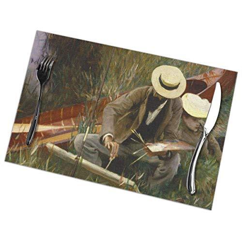 Juego de 6 manteles individuales para mesa de comedor, manteles individuales lavables antideslizantes Pintores John Singer Sargent Out Of Doors 19Th