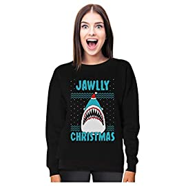 Jawlly Christmas Ugly Christmas Sweater For Xmas Party Shark Women Sweatshirt 5 Outstanding fabric quality! cozy non itchy fabric holiday sweatshirt. Christmas pajamas for family Jawlly Christmas funny great white shark santa ugly Xmas sweatshirt for Xmas parties. Hilarious sweater for school, family photos and Christmas parties
