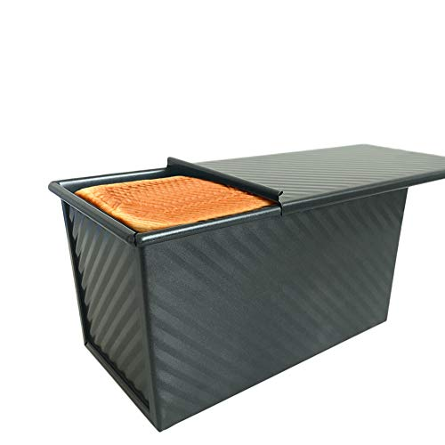DLUCKY Loaf Pan With Lid Toast Pan,Toast Bread Box Mold Pan With Lid,Rectangle Corrugated Bread Pans for Baking With Lid,Non-Stick Bakeware Square Loaf Pan With Cover 0.99Lb Dough Capacity(Black)