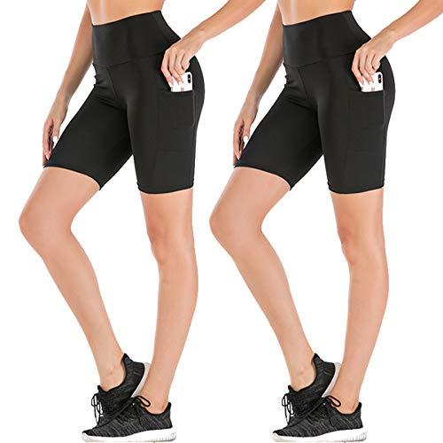 Women's High Waist Workout Yoga Shorts Two Side Pocket-Best for Running,Dance,Bike (2# Black,2 Pack, Large)