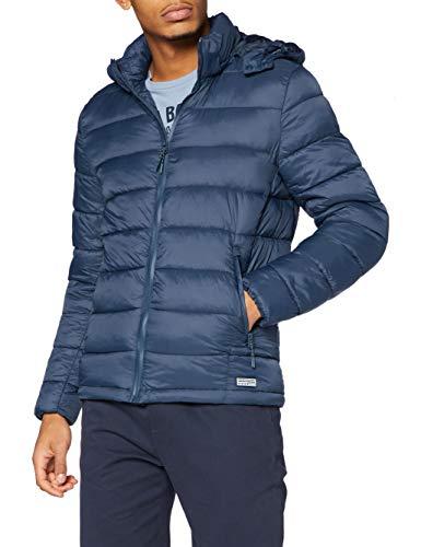 Springfield Chaqueta Acolchada Relleno Dupont Sorona Capucha Desmontable Quilted Jacket, Azul, L para Hombre