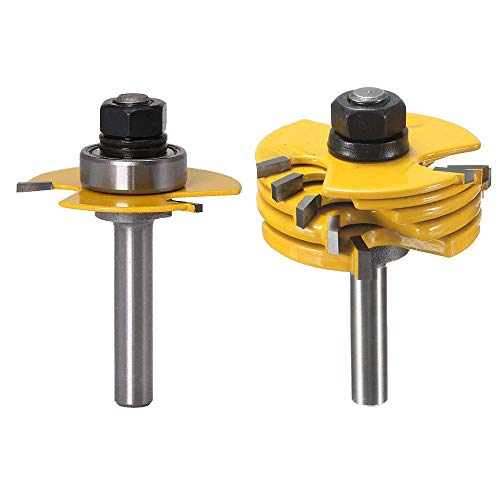 Bestgle 6 Kerf 1/4' Shank Adjustable 3 Wing Joint Slot Cutter Jointing Slotting Router Bit Set 1/16', 3/32', 1/8', 5/32', 3/16', 1/4'