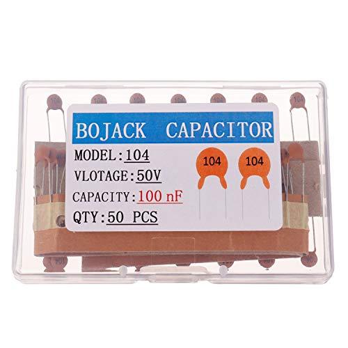 BOJACK 0.1uF 50V Keramikscheiben kondensatoren 100nF Niederspannungs-Keramik kondensator mit hoher Dielektrizitätskonstante (Packung mit 50 Stück)