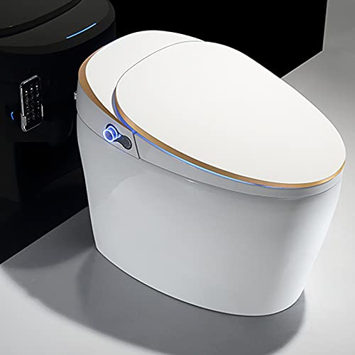 Luxury Smart Toilet with Integrated Dual Flush with Remote Control, Elongated One Piece Toilet with...