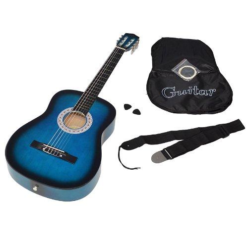 ts-ideen 5265 Akustik Gitarre Klassikgitarre Konzertgitarre in Blau Schwarz mit Tasche, Saiten, Plektrum und Gurt