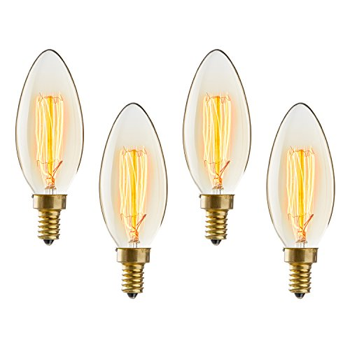 Brooklyn Bulb Co. E12 Candelabra Bulbs - Torpedo Tip Edison Style, Vintage C10 Shape, Squirrel Cage Filament, Fully Dimmable, Warm White, 40W (E12), Gates Design - Set of 4