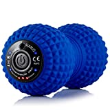 Vibrating Peanut Roller - 4 Vibration Levels - Rechargeable - Muscle Roller for Deep Tissue Massage and Recovery - Massager for Back, Neck, Foot, Leg, and Body - Blue