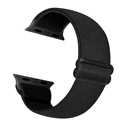 Cinturino di ricambio elastico Cuteeze compatibile con cinturino Apple Watch 38 mm 40 mm 42 mm 44 mm, cinturino in nylon morbido per iWatch serie 6, 5, 4, 3, 2, 1, SE (Nero, 42/44mm)