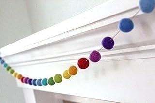 "Rainbow Felt Ball Garland- 1"" (2.5 cm) Wool Felt Balls"