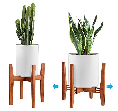 LCZTN Mid Century Indoor Wood Plant Stand,Adjustable Sturdy Flower Pot Holder Width 8-14 inches,Fits Pot Size of 8 9 10 11 12 13 14 inches(Pot & Plant Not Included) (Brown)