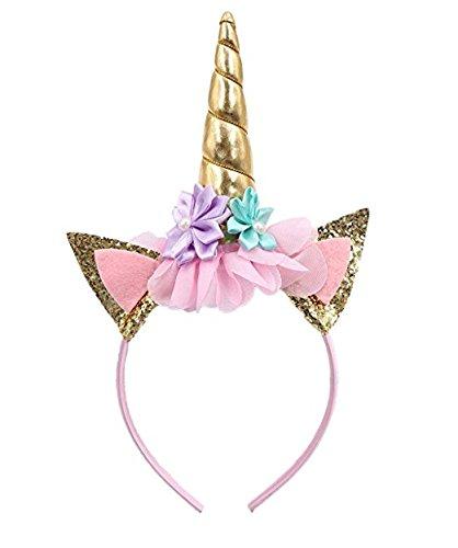 Bandeau corne de licorne pailletée pour décoration de fête ou déguisement, doré