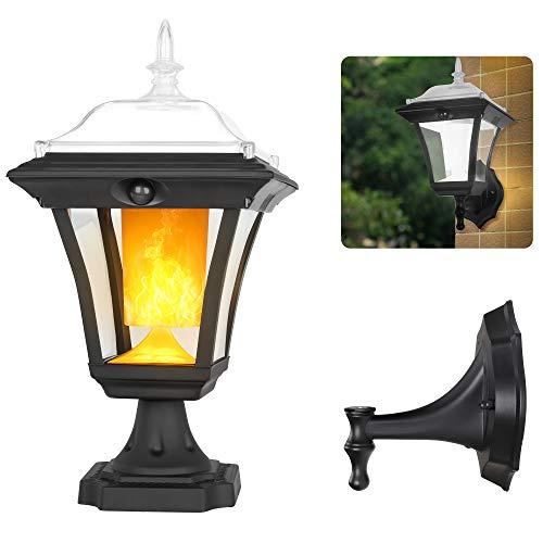 Solar Light Outdoor, Flickering Flame Wall Light Fixture, 2-in-1 Motion Sensor Post Light Porch Light, Dusk to Dawn Auto ON/Off, Waterproof, Landscape Deck Light for Garden Patio Doorway, 1 Pack