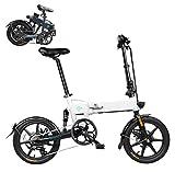 Tazzaka Bicicleta Eléctrica Plegable 16 Pulgadas Bicicletas Bici de Ciudad/Montaña 250W 25km/h Ciclomotor de 3 Niveles Bateria de Litio de Aluminio Display LED para Adultos[EU Stock]