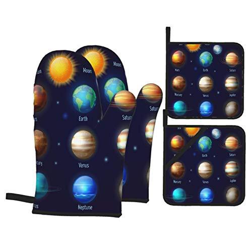 Ofenhandschuhe und Topflappen 4er-Sets,Planeten des Sonnensystems und die Piktogramme der Sonne setzen astronomisches bun,Grillhandschuhe mit beständigen heißen Pads zum Kochen,Kochen,Backen,Grillen