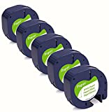 YiHERO Compatible Label Tape Replecament for Dymo letratag Refills 91330 10697 Self-Adhesive Paper 12mm Black on White Waterproof Tape for Dymo Label Maker Paper LT-100T LT-100H QX50 5 Pack