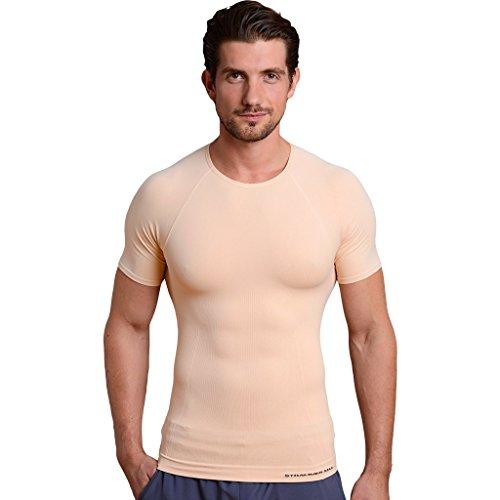 Strammer Max Round Neck Funktionsshirt, atmungsaktives Kompressionshirt (hochwertiges Meryl Skinlife Gewebe), Farbe: Nude (L)
