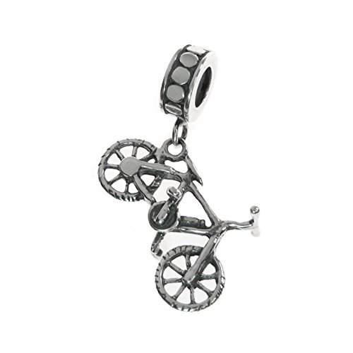 Queenberry - Charm a forma di bicicletta, in argento sterling, stile europeo