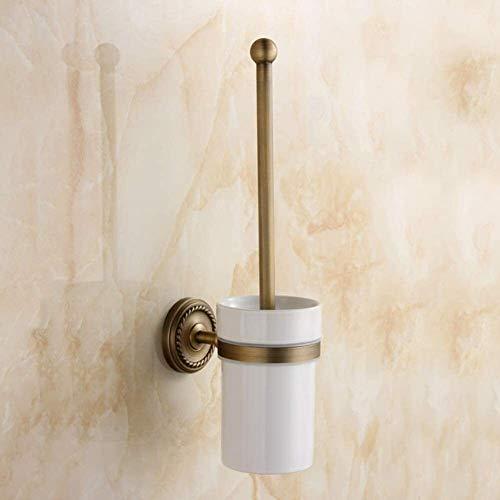 AINIYF Montado en la pared del baño plataforma de baño Ducha de almacenamiento WC portaescobillas estilo europeo de latón de estilo retro País WC Instalación cepillo Punch (Color: Latón, Tamaño: 14.5x