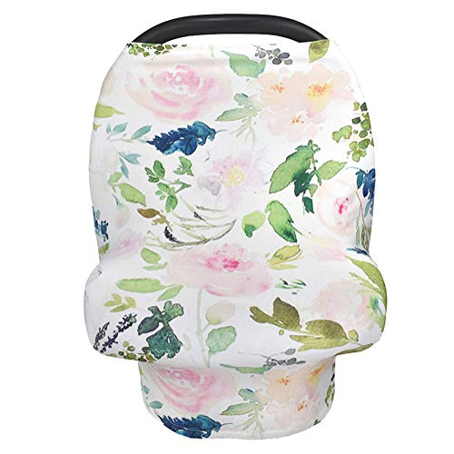 Nursing Cover Breastfeeding Scarf, Car Seat Covers for Babies Infant Carseat Canopy, Stretchy Soft Breathable Multi-Use Cover Ups for Stroller High Chair Shopping Cart, Baby Shower Item for Boys Girls