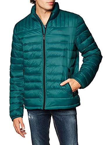 DKNY Chaqueta impermeable para hombre, acolchada, acolchada, acolchada, para hombre, Color verde azulado., Small