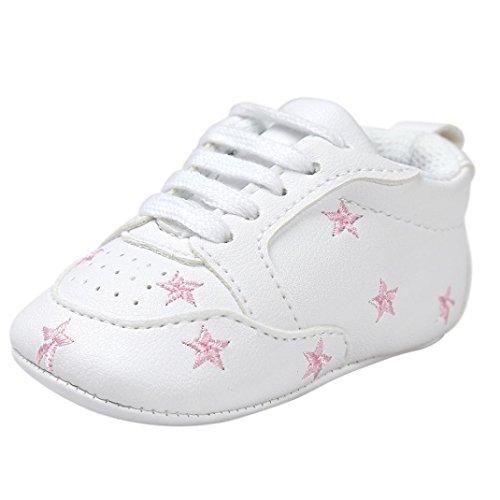 FNKDOR Baby Sternchen Schuhe Jungen Mädchen Weiß Lauflernschuhe Krabbelschuhe, 0-18 Monate (6-12 Monate, Pink)