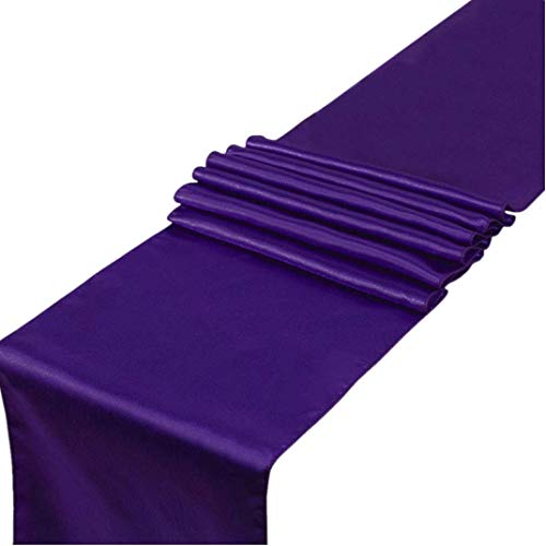 Pack of 10 Satin Table Runners 12 x 108 inches Long Purple Table Runners for Parties Birthday Weddings Receptions Banquet Table Decorations, Bright Silk Elegant Table Runner- Lavender Purple