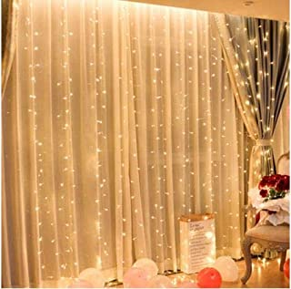 Curtain light 300 LED Fairy String Light 8 Modes Control Decoration for Bedroom Window Wedding Party Home Garden Outdoor Indoor,IP65 Water Proof,USB Operated (9.8ft X 9.8ft, Warm White)